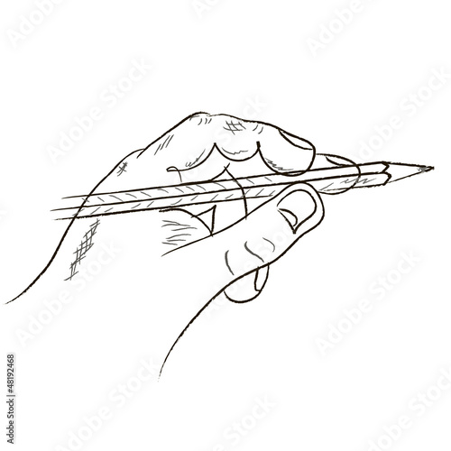 human hand and pencil. Vector illustration