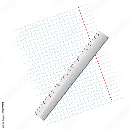 writing-book leaf in a cage and a ruler.Vector illustration