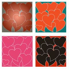 set of heart backgrounds