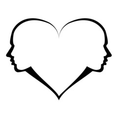 love – woman and man in the heart, vector