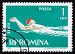 Postage stamp Romania 1963 Swimming, Backstroke Style