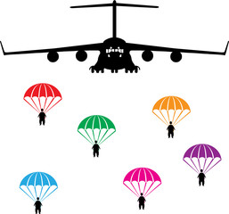 airplane and parachutist