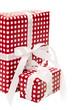 Rot-weiß-karierte Geschenke isoliert