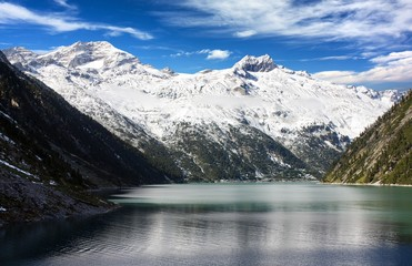 mount Olperer above Schlegeisspeicher lake - Zillertal Alps