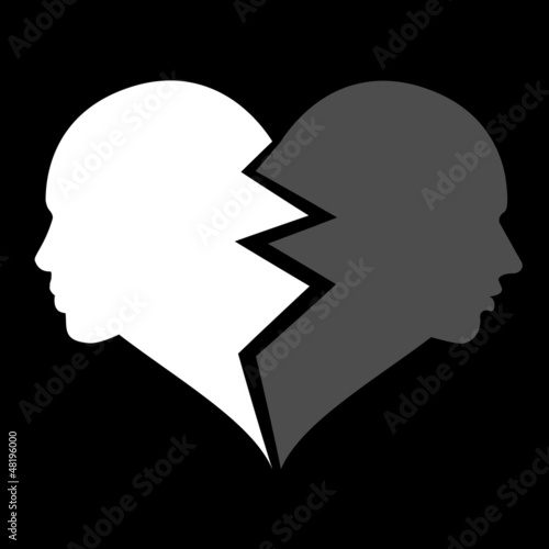 love – woman and man in the broken heart, vector