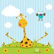 giraffe and bird vector