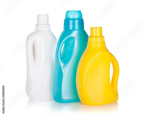 Three plastic bottles of cleaning product