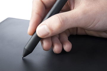 Using a graphics tablet with hand
