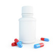 White plastic medical container for pills