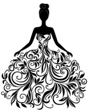 Wektor sylwetka młodej kobiety w sukni