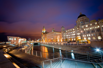 Three Graces by Night, Liverpool
