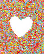 love, heart on rainbow confetti background