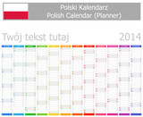 Fototapety 2014 Polish Planner Calendar with Vertical Months