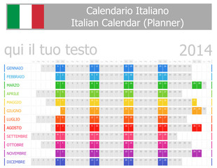 2014 Italian Planner Calendar with Horizontal Months
