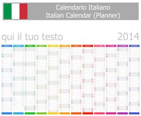 2014 Italian Planner Calendar with Vertical Months