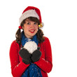 Winter girl with hat Santa Claus and snow