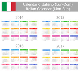 2014-2017 Type-1 Italian Calendar Mon-Sun