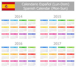 2014-2017 Type-1 Spanish Calendar Mon-Sun