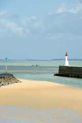 Beach from Boyard-ville with fort Boyard