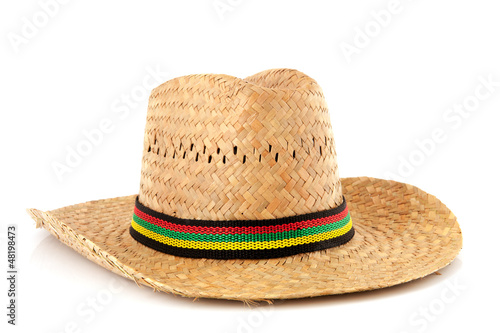 Straw hat with colorful ribbon