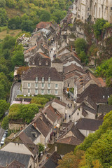 Medieval town of Rocamadour, France shot from above