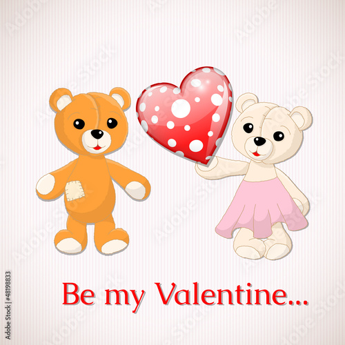 Foto op Aluminium Beren Valentine greeting card with two teddy bears and red dotted hear