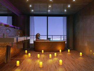 Junge Frau Kerzenschein Badezimmer über Stadt 3D