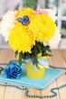 Beautiful chrysanthemum in pail