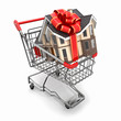 House gift with bow in shopping cart