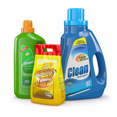 Washing powder and detergent bottles. 3d