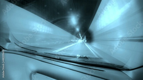 HD timelapse of car driving through tunnels