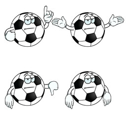 Collection of bored cartoon footballs with various gestures.