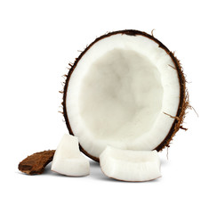 half of coconut isolated on white