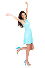 cheerful beautiful young woman arms up isolated on white