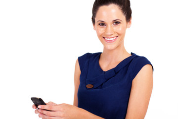 attractive young woman sms with cell phone