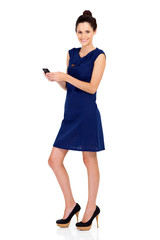 attractive young businesswoman with smart phone