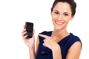 attractive businesswoman pointing at smart phone