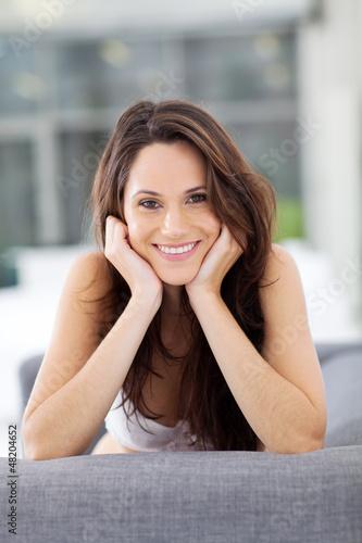 gorgeous young woman smiling closeup portrait