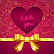Valentines day greeting card with heart and golden ribbon