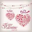Valentine's day greeting hanging heart