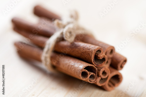 Cinnamon sticks, shallow depth of field, horizontal shot