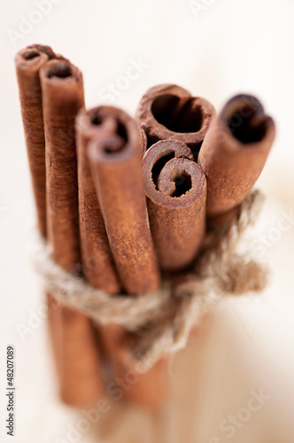 Bundle of cinnamon sticks, shallow depth of field