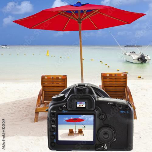 souvenirs de vacances sur écran appareil photo