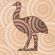 Aboriginal emu dot painting in vector format.
