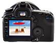 plage mauricienne sur écran appareil photo