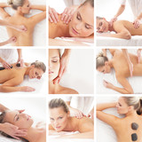 A collage of spa images with young women on massage - 48209834