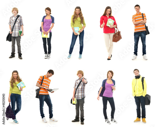 A group of happy teenagers in modern school clothes