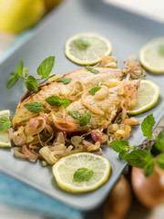 marinated mackerel with lemon onions and mint,selective focus