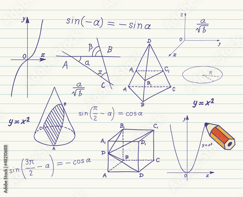 Mathematics sketches on school board