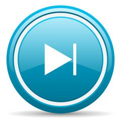 next blue glossy icon on white background